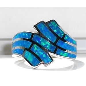 925 STERLING SILVER Lab Blue Fire Opal Ring